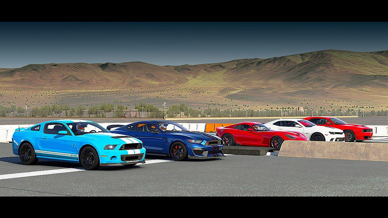 سباق حلبة ما بين هذه السيارات  World's Greatest Drag Race! Shelby GT350R, GT500, Hellcat, Srt VIPER, Camaro Z/28 - Forza 6