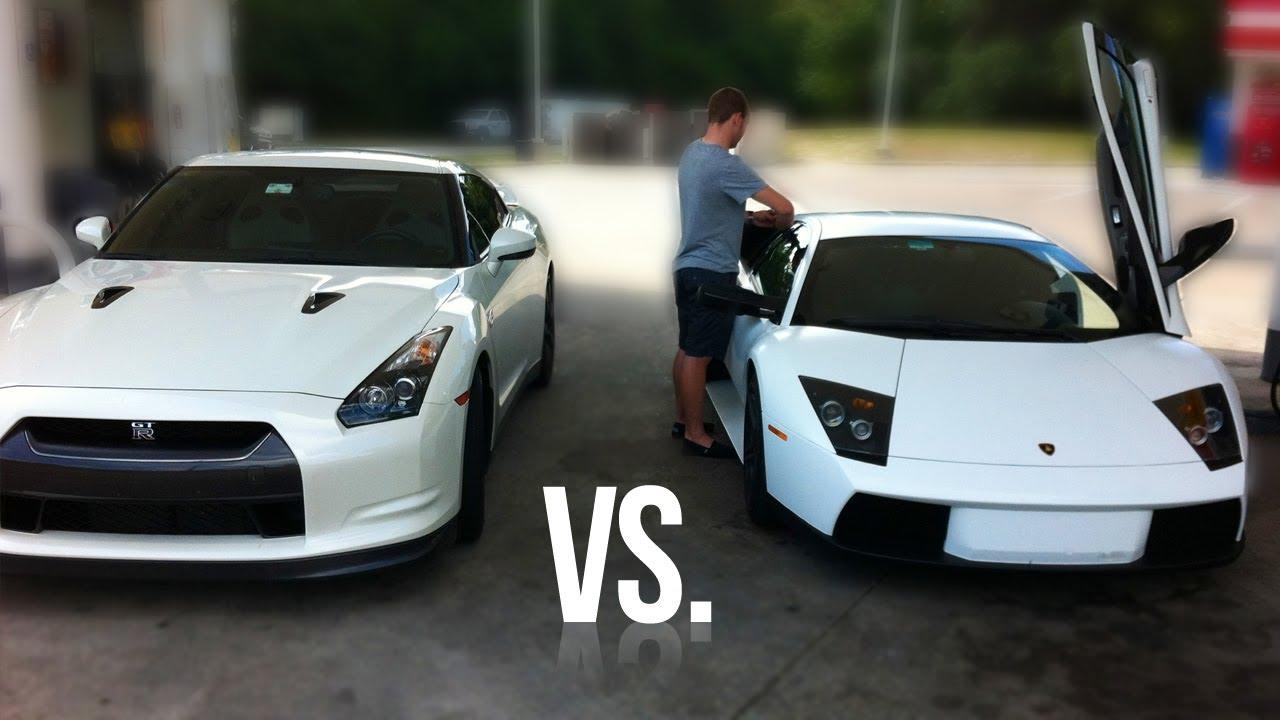 سباق بين لمبورجيني و نيسان GTR  Lamborghini Murcielago vs. Nissan GT-R Street Race